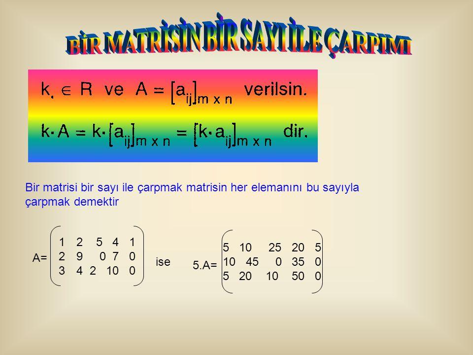 Bir matrisi bir sayı ile çarpmak matrisin her elemanını bu sayıyla çarpmak demektir 1212 5 4 1 2929 0 7 0 3434 2 10 0 A= ise 5.A= 5 10 25 20 5 10 45 0