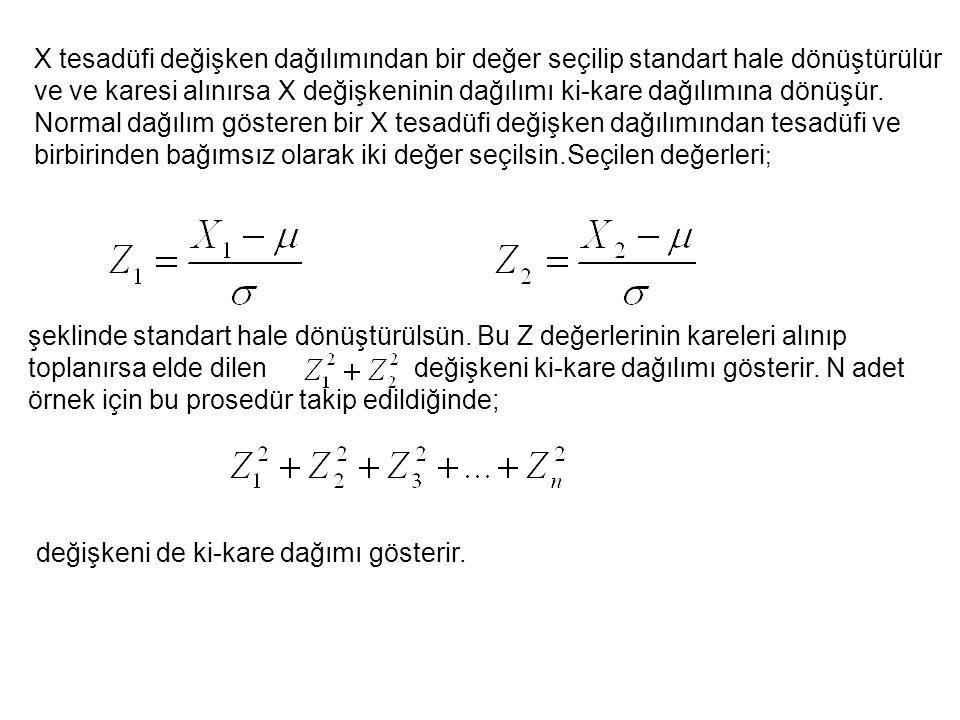 X tesadüfi değişken dağılımından bir değer seçilip standart hale dönüştürülür ve ve karesi alınırsa X değişkeninin dağılımı ki-kare dağılımına dönüşür