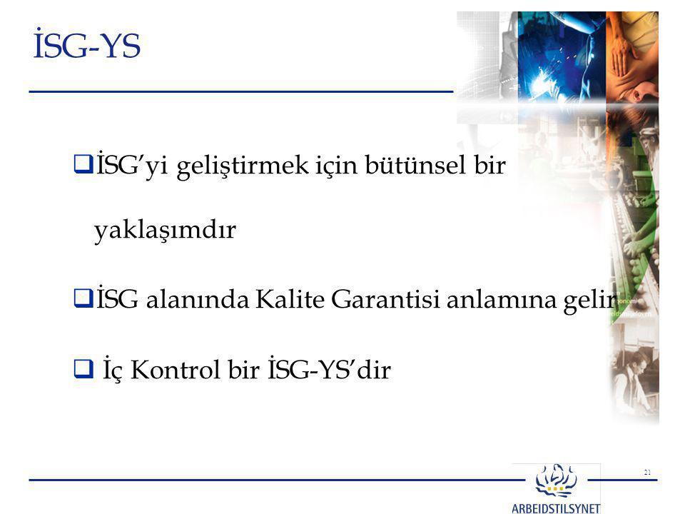 21 İSG-YS  İSG'yi geliştirmek için bütünsel bir yaklaşımdır  İSG alanında Kalite Garantisi anlamına gelir  İç Kontrol bir İSG-YS'dir