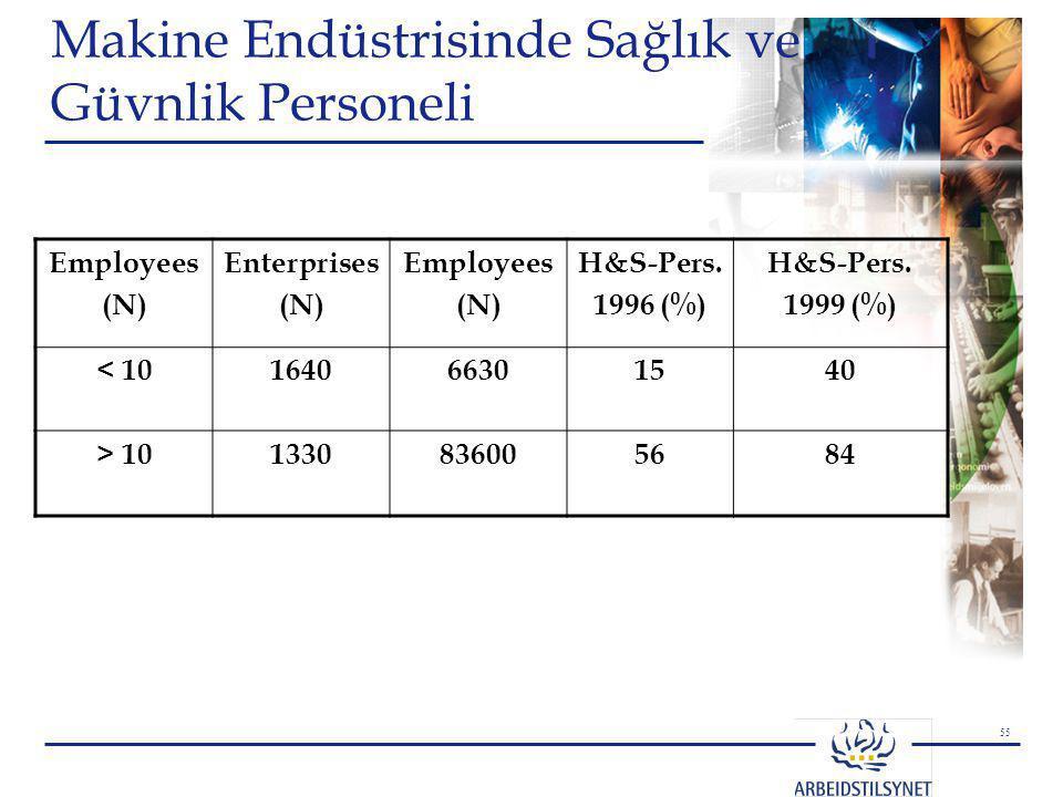 55 Makine Endüstrisinde Sağlık ve Güvnlik Personeli Employees (N) Enterprises (N) Employees (N) H&S-Pers. 1996 (%) H&S-Pers. 1999 (%) < 10164066301540