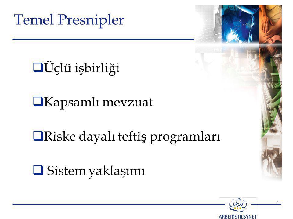 6 Temel Presnipler  Üçlü işbirliği  Kapsamlı mevzuat  Riske dayalı teftiş programları  Sistem yaklaşımı