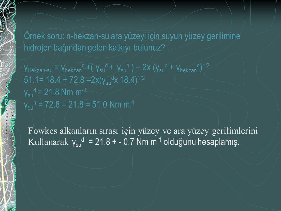Örnek soru: n-hekzan-su ara yüzeyi için suyun yüzey gerilimine hidrojen bağından gelen katkıyı bulunuz? γ Hekzan-su = γ hekzan d +( γ su d + γ su h )