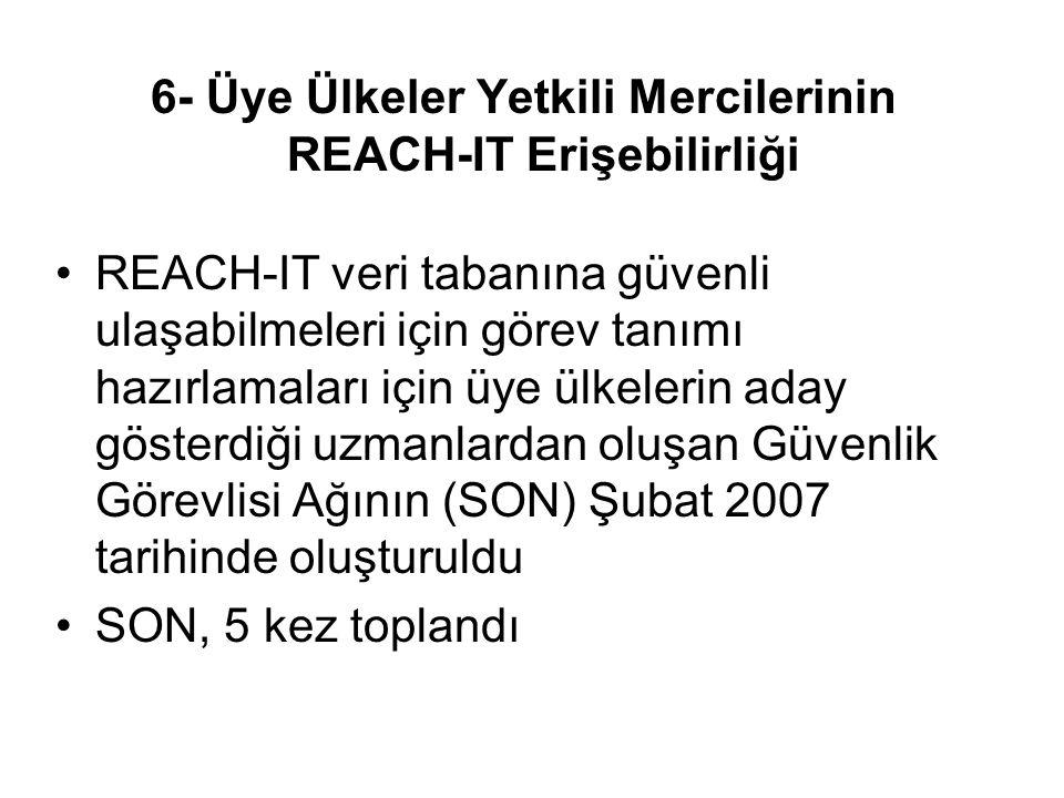 6- Üye Ülkeler Yetkili Mercilerinin REACH-IT Erişebilirliği REACH-IT veri tabanına güvenli ulaşabilmeleri için görev tanımı hazırlamaları için üye ülkelerin aday gösterdiği uzmanlardan oluşan Güvenlik Görevlisi Ağının (SON) Şubat 2007 tarihinde oluşturuldu SON, 5 kez toplandı