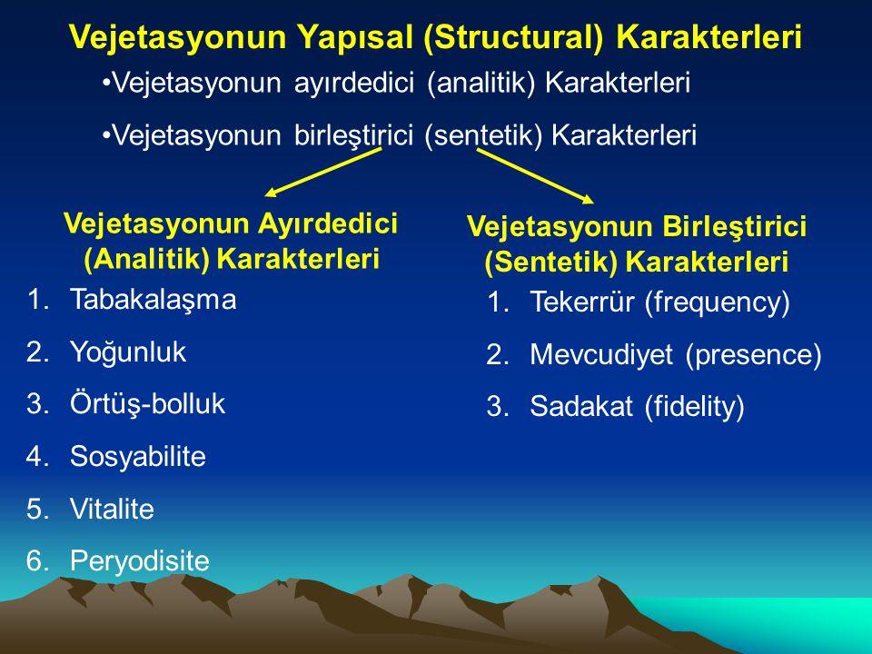 Vejetasyonun Yapısal (Structural) Karakterleri (devam) Vejetasyonun Ayırdedici (Analitik) Karakterleri 1.Tabakalaşma (stratification) Her birlik en az bir vejetasyon katı  Çok katlılık 1.Ağaç katı 2.Çalı katı 3.Ot katı 4.Yosun katı 5.Kök katı (rizosfer) Kapalı vejetasyon -bireylerarası açıklık yok denecek şekilde..