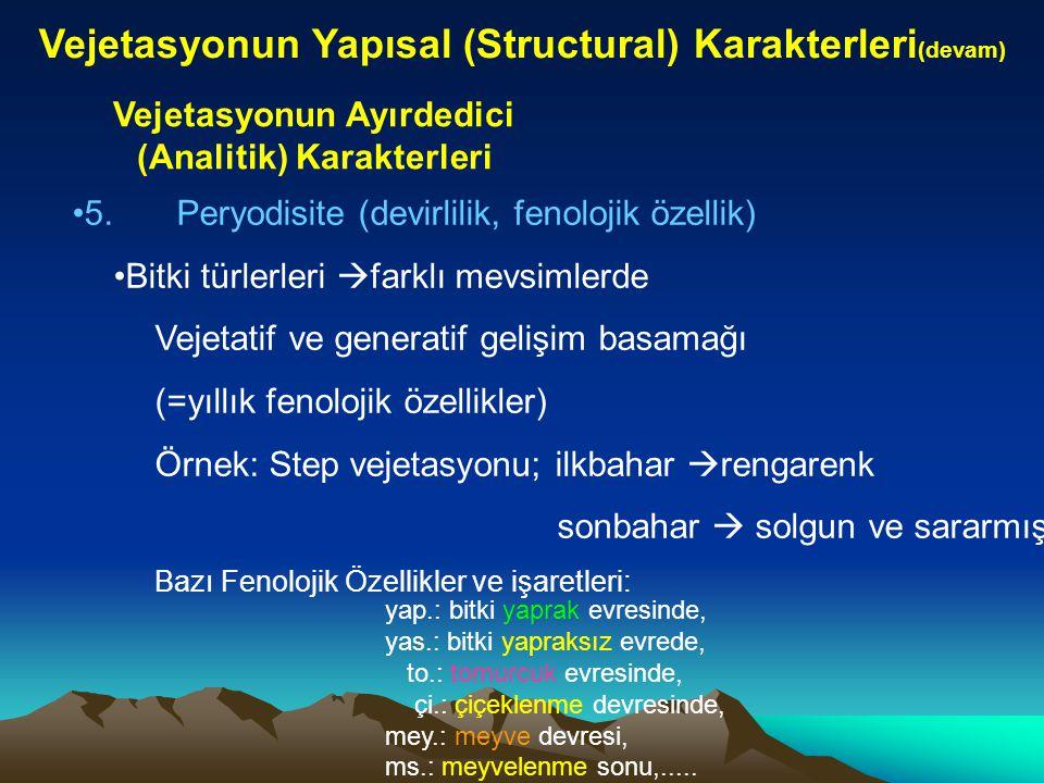 Vejetasyonun Yapısal (Structural) Karakterleri (devam) Vejetasyonun Ayırdedici (Analitik) Karakterleri 5.Peryodisite (devirlilik, fenolojik özellik) B