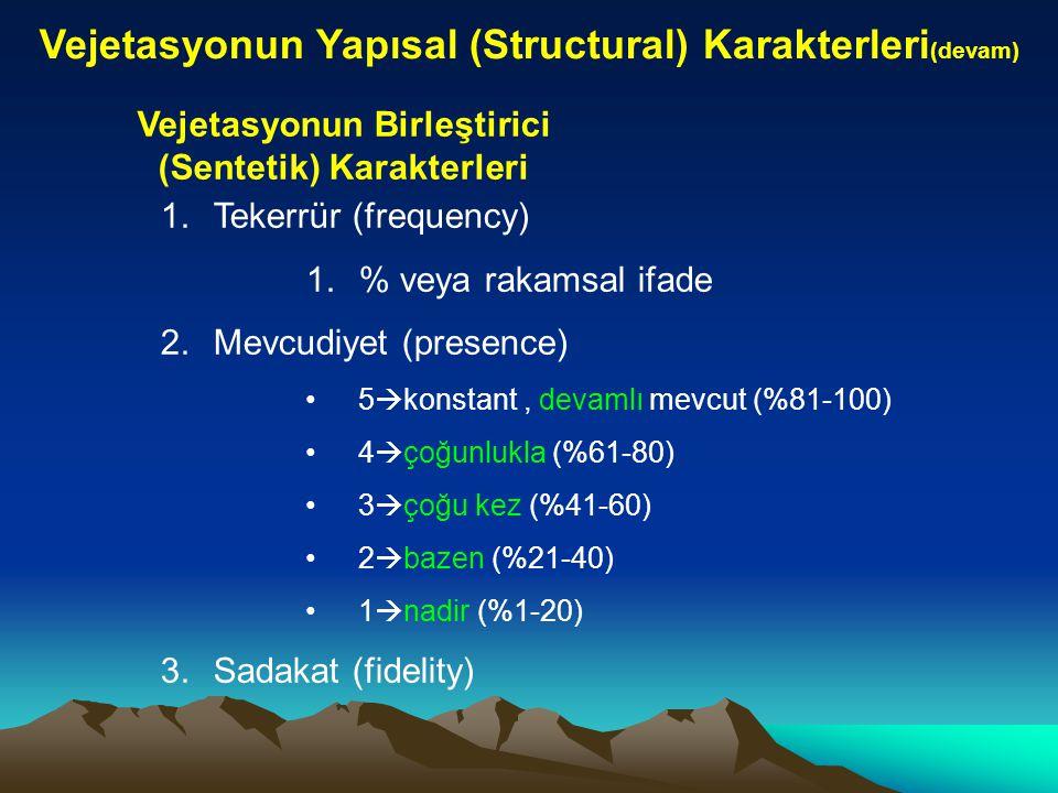 Vejetasyonun Yapısal (Structural) Karakterleri (devam) Vejetasyonun Birleştirici (Sentetik) Karakterleri 1.Tekerrür (frequency) 1.% veya rakamsal ifad