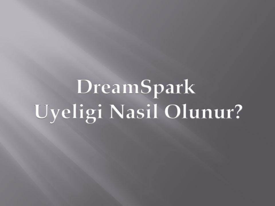 https://www.dreamspark.com Adresinden Oncelikle Sing In 'I tiklayarak karsiniza gelen alanda Create An Account linkini tikliyorsunuz.