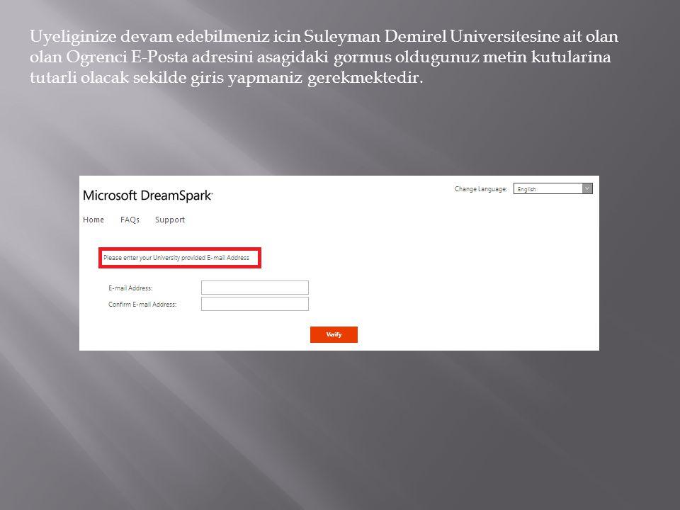 Suleyman Demirel Universitesine ait olan ogrenci e-postaniza gelen aktivasyon mailinde verilmis olan linki browser'iniza kopyalayip yapistirin.