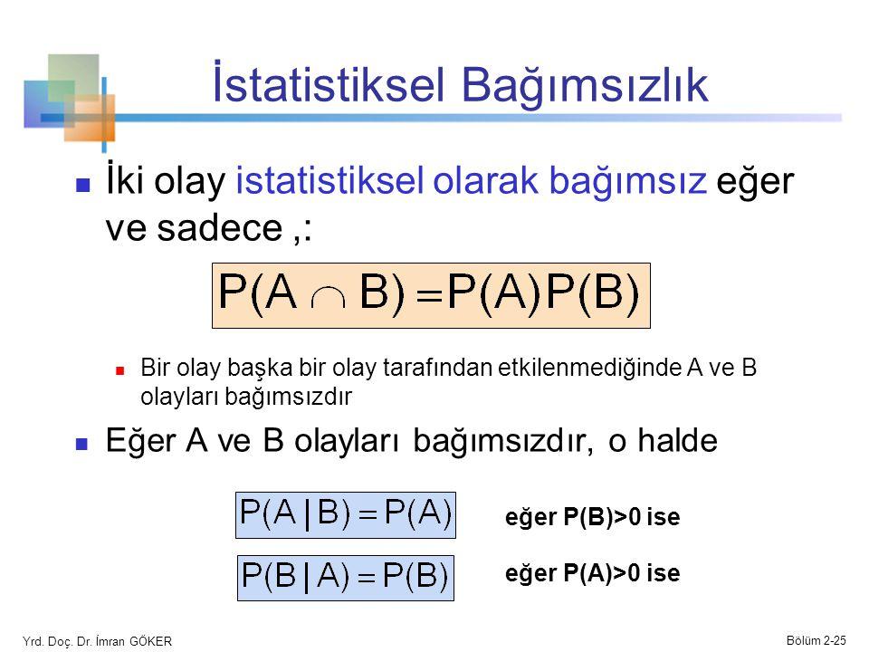 İstatistiksel Bağımsızlık İki olay istatistiksel olarak bağımsız eğer ve sadece,: Bir olay başka bir olay tarafından etkilenmediğinde A ve B olayları bağımsızdır Eğer A ve B olayları bağımsızdır, o halde eğer P(B)>0 ise eğer P(A)>0 ise Yrd.