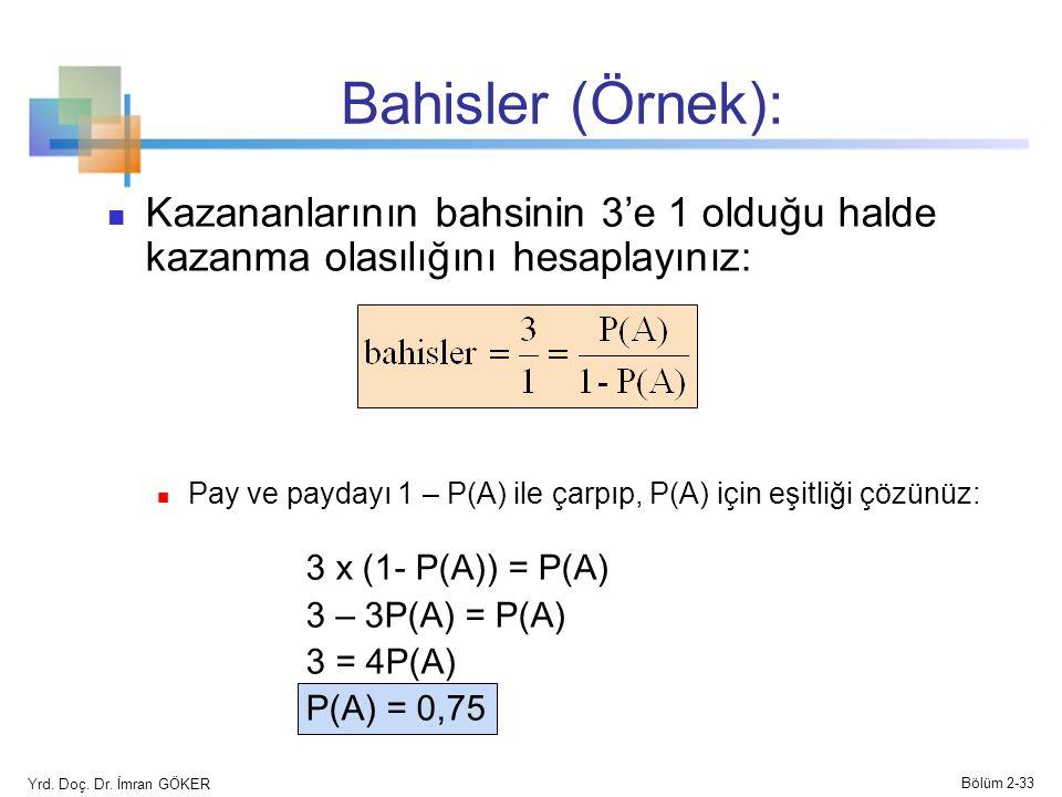 Bahisler (Örnek): Kazananlarının bahsinin 3'e 1 olduğu halde kazanma olasılığını hesaplayınız: Pay ve paydayı 1 – P(A) ile çarpıp, P(A) için eşitliği çözünüz: 3 x (1- P(A)) = P(A) 3 – 3P(A) = P(A) 3 = 4P(A) P(A) = 0,75 Yrd.