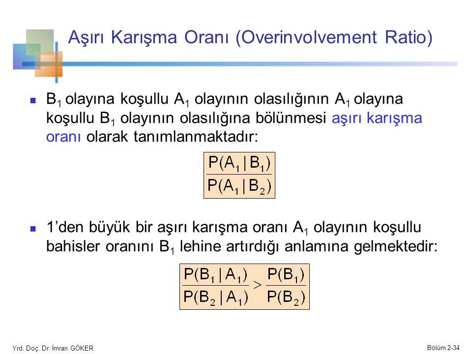 Aşırı Karışma Oranı (Overinvolvement Ratio) B 1 olayına koşullu A 1 olayının olasılığının A 1 olayına koşullu B 1 olayının olasılığına bölünmesi aşırı karışma oranı olarak tanımlanmaktadır: 1'den büyük bir aşırı karışma oranı A 1 olayının koşullu bahisler oranını B 1 lehine artırdığı anlamına gelmektedir: Yrd.