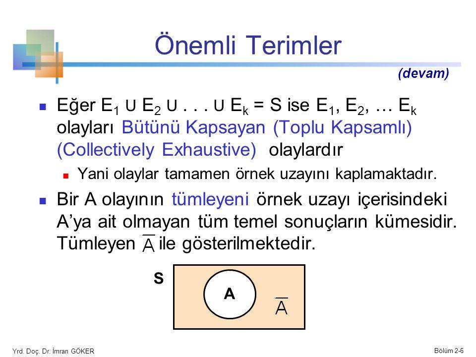 Önemli Terimler Eğer E 1 U E 2 U... U E k = S ise E 1, E 2, … E k olayları Bütünü Kapsayan (Toplu Kapsamlı) (Collectively Exhaustive) olaylardır Yani