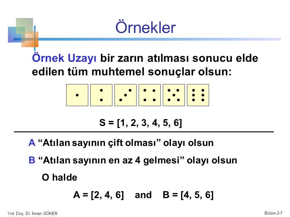 Örnekler Örnek Uzayı bir zarın atılması sonucu elde edilen tüm muhtemel sonuçlar olsun: S = [1, 2, 3, 4, 5, 6] A Atılan sayının çift olması olayı olsun B Atılan sayının en az 4 gelmesi olayı olsun O halde A = [2, 4, 6] and B = [4, 5, 6] Yrd.