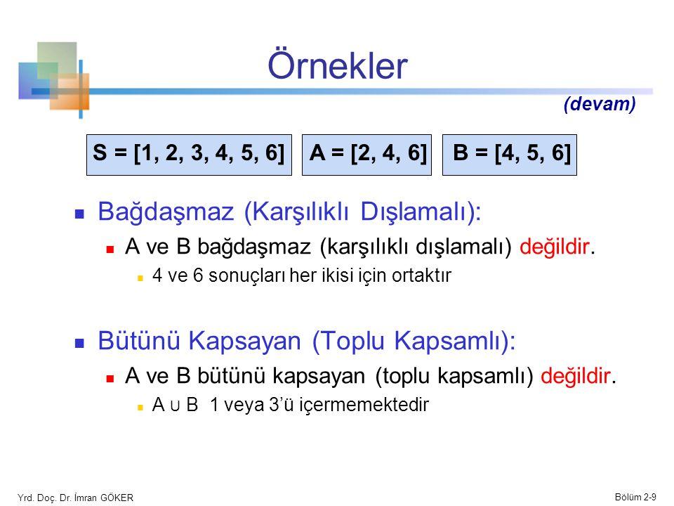 Örnekler Bağdaşmaz (Karşılıklı Dışlamalı): A ve B bağdaşmaz (karşılıklı dışlamalı) değildir. 4 ve 6 sonuçları her ikisi için ortaktır Bütünü Kapsayan