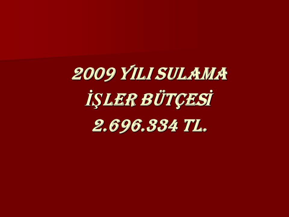 2009 YILI SULAMA İŞ LER BÜTÇES İ 2.696.334 TL.