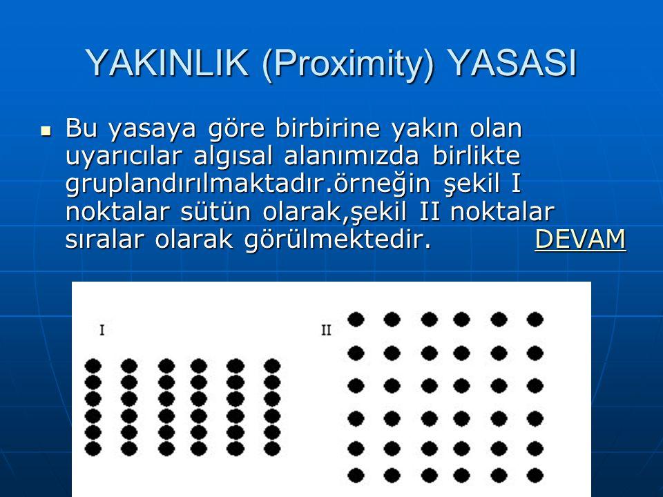YAKINLIK (Proximity) YASASI Bu yasaya göre birbirine yakın olan uyarıcılar algısal alanımızda birlikte gruplandırılmaktadır.örneğin şekil I noktalar sütün olarak,şekil II noktalar sıralar olarak görülmektedir.