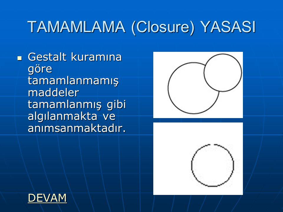 TAMAMLAMA (Closure) YASASI Gestalt kuramına göre tamamlanmamış maddeler tamamlanmış gibi algılanmakta ve anımsanmaktadır.