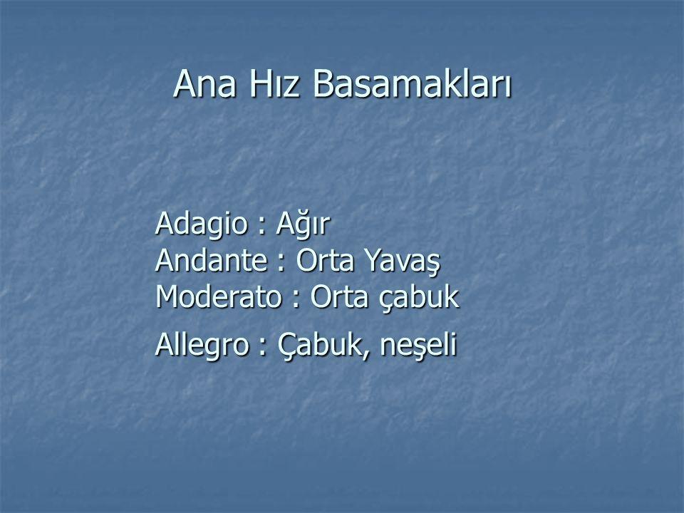 Ana Hız Basamakları Adagio : Ağır Andante : Orta Yavaş Moderato : Orta çabuk Allegro : Çabuk, neşeli