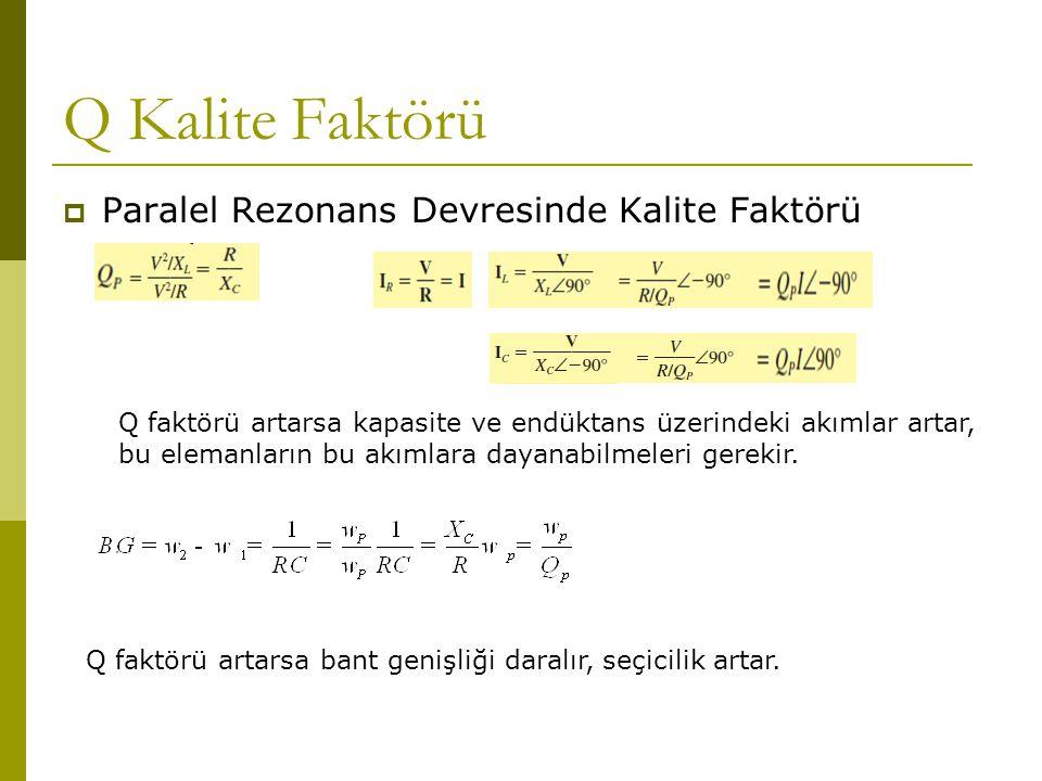 Q Kalite Faktörü  Paralel Rezonans Devresinde Kalite Faktörü Q faktörü artarsa kapasite ve endüktans üzerindeki akımlar artar, bu elemanların bu akım