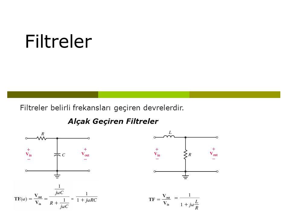 Filtreler Filtreler belirli frekansları geçiren devrelerdir. Alçak Geçiren Filtreler