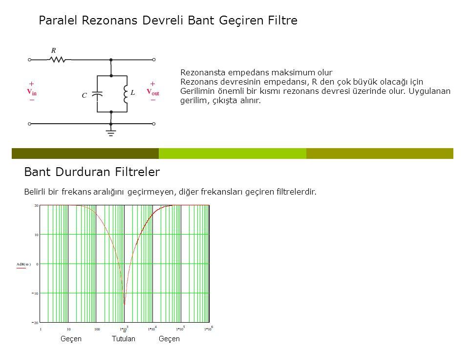 Paralel Rezonans Devreli Bant Geçiren Filtre Rezonansta empedans maksimum olur Rezonans devresinin empedansı, R den çok büyük olacağı için Gerilimin ö