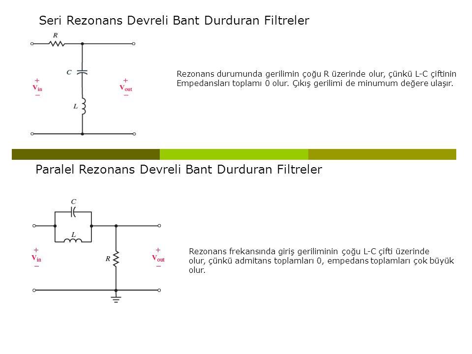 Seri Rezonans Devreli Bant Durduran Filtreler Rezonans durumunda gerilimin çoğu R üzerinde olur, çünkü L-C çiftinin Empedansları toplamı 0 olur. Çıkış