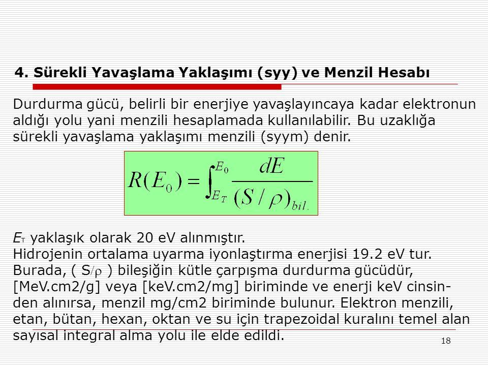 18 4. Sürekli Yavaşlama Yaklaşımı (syy) ve Menzil Hesabı Durdurma gücü, belirli bir enerjiye yavaşlayıncaya kadar elektronun aldığı yolu yani menzili
