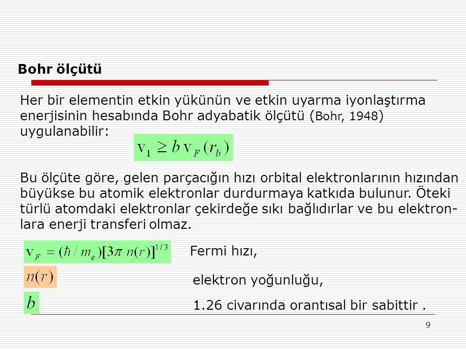 9 Bohr ölçütü Her bir elementin etkin yükünün ve etkin uyarma iyonlaştırma enerjisinin hesabında Bohr adyabatik ölçütü ( Bohr, 1948 ) uygulanabilir: B