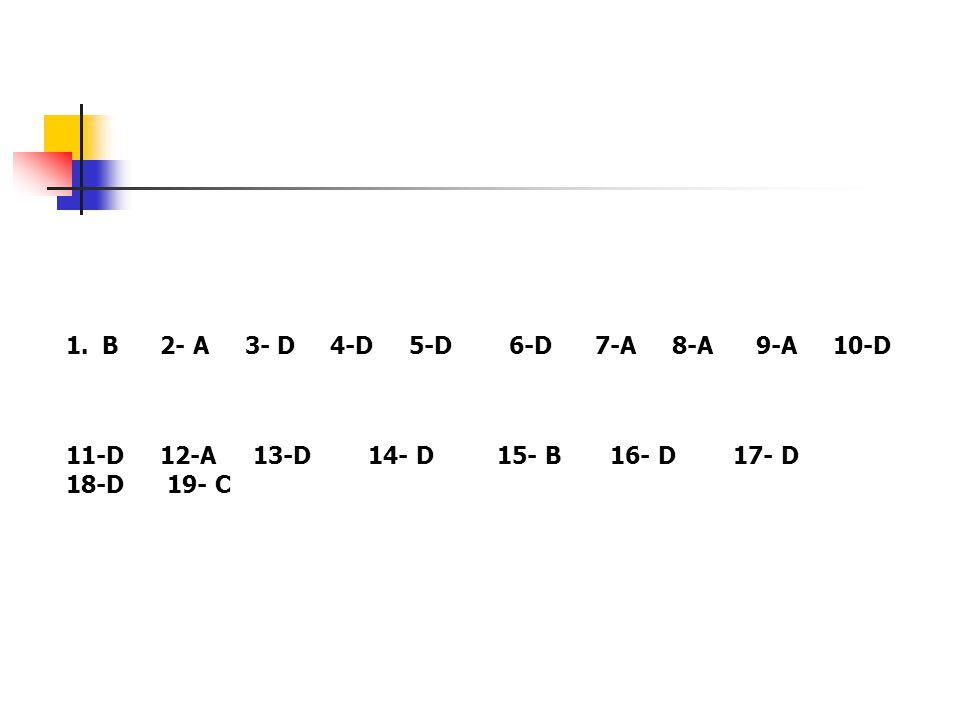 1.B 2- A 3- D 4-D 5-D 6-D 7-A 8-A 9-A 10-D 11-D 12-A 13-D 14- D 15- B 16- D 17- D 18-D 19- C