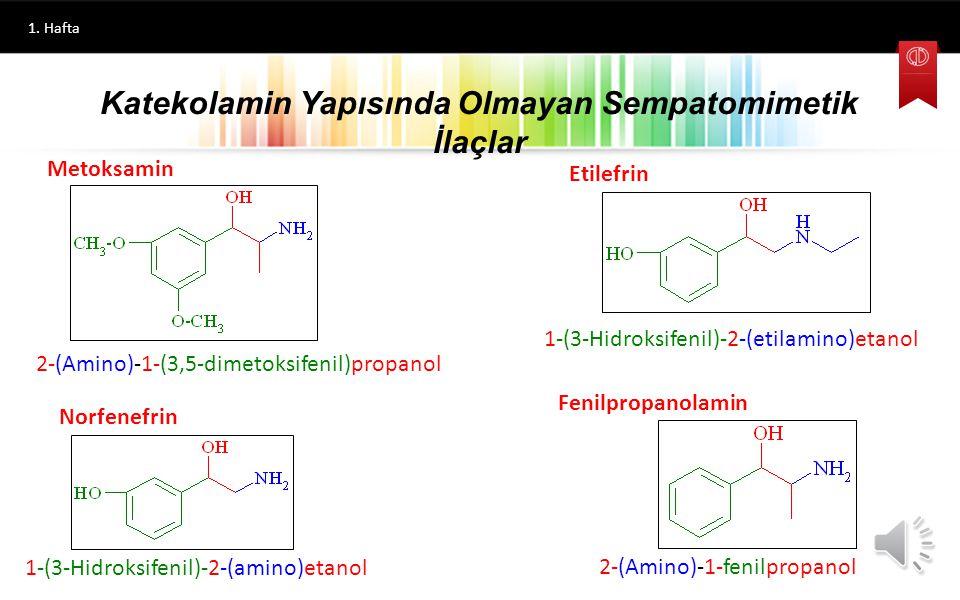 1. Hafta Alfa reseptörleri üzerinden rol oynayan ve Efedrin benzeri etki gösteren diğer bazı ilaçlar, Fenilefrin, Metaraminol, Metoksamin, Etilefrin,