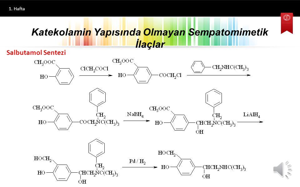 1. Hafta Ritodrin Nilidrin Katekolamin Yapısında Olmayan Sempatomimetik İlaçlar 1-(4-Hidroksifenil)-2-(1-metil-3-fenilpropilamino)propanol 1-(4-Hidrok