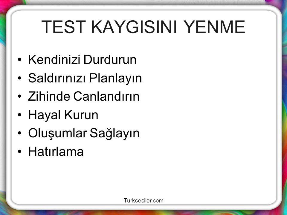 Turkceciler.com YÜKSEK BAŞARI İÇİN Geçmiş sınav sorularını çözün,çözümleri iyice inceleyiniz.Böylece soruların tipini,mantığını,üslübunu,soruluş tarzını,konulara dağılışını,zorluk kolaylık dağılımlarını,testteki dağılışlarını,ne tip sorular gelebileceğinin farkına varırsınız.