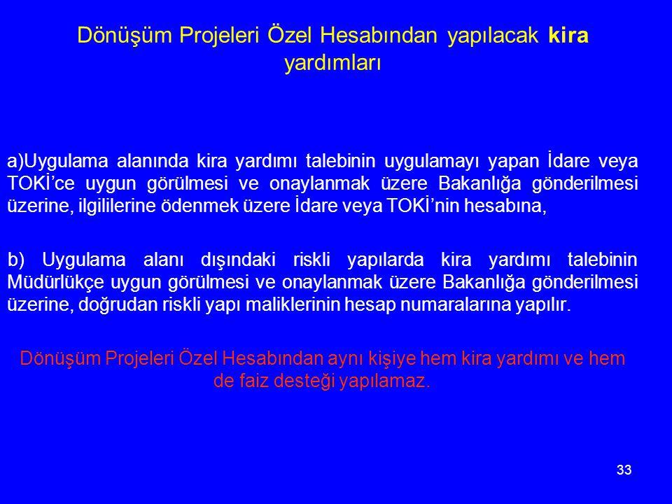 33 Dönüşüm Projeleri Özel Hesabından yapılacak kira yardımları a)Uygulama alanında kira yardımı talebinin uygulamayı yapan İdare veya TOKİ'ce uygun gö