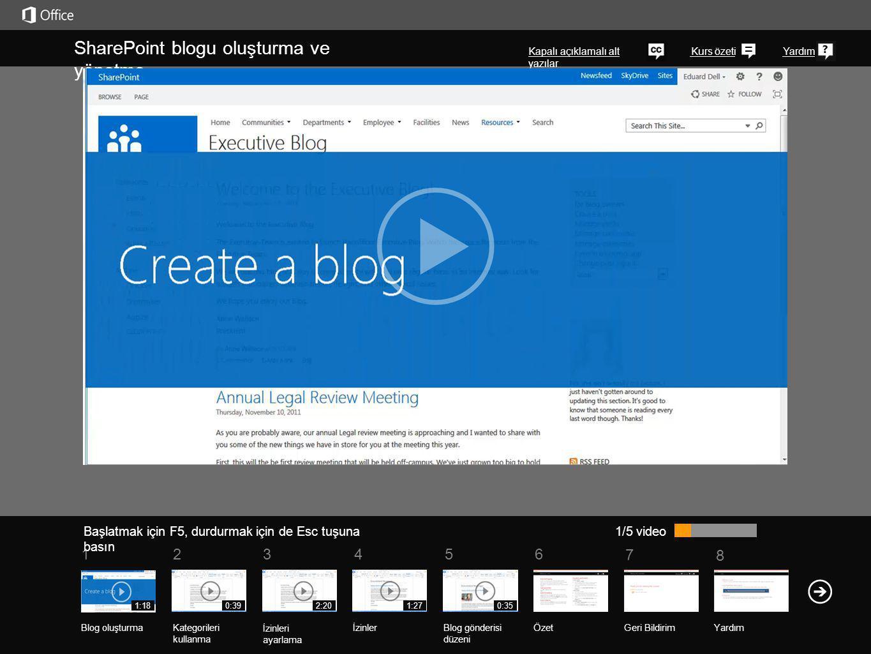5 7 61234 Kurs özeti 8 Yardım SharePoint blogu oluşturma ve yönetme Kapalı açıklamalı alt yazılar Başlatmak için F5, durdurmak için de Esc tuşuna bası