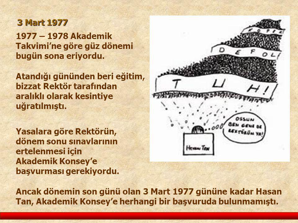 1977 – 1978 Akademik Takvimi'ne göre güz dönemi bugün sona eriyordu. 3 Mart 1977 Yasalara göre Rektörün, dönem sonu sınavlarının ertelenmesi için Akad