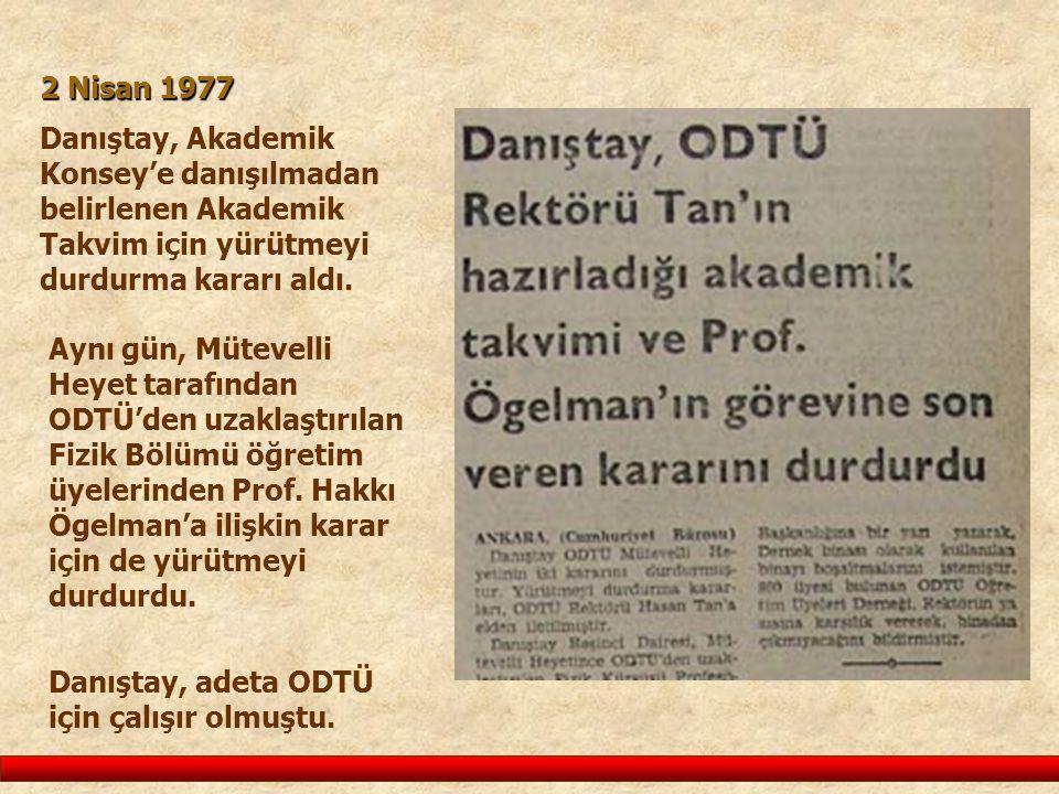 2 Nisan 1977 Danıştay, Akademik Konsey'e danışılmadan belirlenen Akademik Takvim için yürütmeyi durdurma kararı aldı. Aynı gün, Mütevelli Heyet tarafı