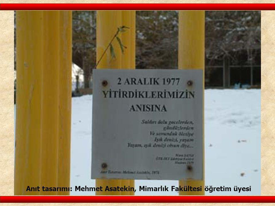 Anıt tasarımı: Mehmet Asatekin, Mimarlık Fakültesi öğretim üyesi