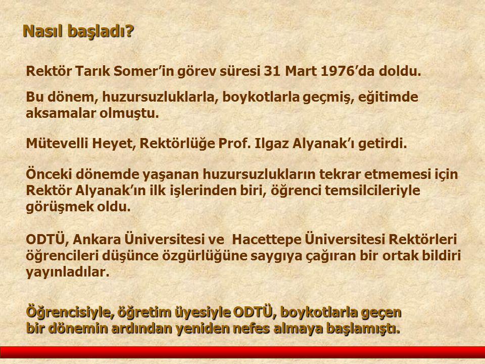 Nasıl başladı? Rektör Tarık Somer'in görev süresi 31 Mart 1976'da doldu. Bu dönem, huzursuzluklarla, boykotlarla geçmiş, eğitimde aksamalar olmuştu. Ö
