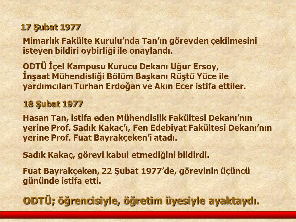 Hasan Tan, istifa eden Mühendislik Fakültesi Dekanı'nın yerine Prof. Sadık Kakaç'ı, Fen Edebiyat Fakültesi Dekanı'nın yerine Prof. Fuat Bayrakçeken'i