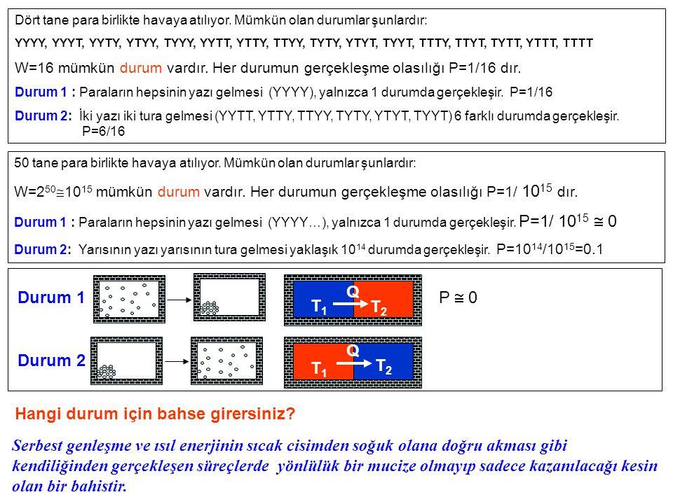 T1T1 T2 T2 Q T1T1 T2 T2 Q ►Termodinamiğin ikinci yasasına göre, yalıtılmış bir sistemde kendiliğinden gerçekleşen süreçler (tersinmez) sistemin entropisini daima arttırır.
