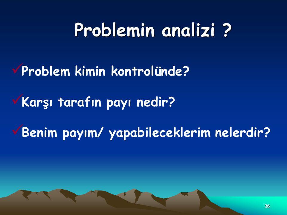 36 Problemin analizi ? Problem kimin kontrolünde? Karşı tarafın payı nedir? Benim payım/ yapabileceklerim nelerdir?