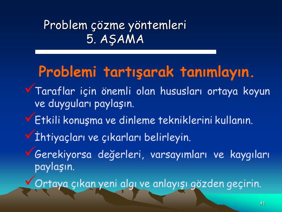 41 Problem çözme yöntemleri 5. AŞAMA Problemi tartışarak tanımlayın. Taraflar için önemli olan hususları ortaya koyun ve duyguları paylaşın. Etkili ko
