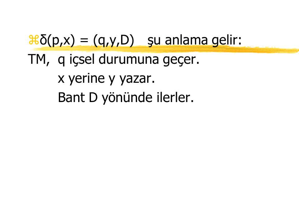zδ(p,x) = (q,y,D)şu anlama gelir: TM,q içsel durumuna geçer. x yerine y yazar. Bant D yönünde ilerler.