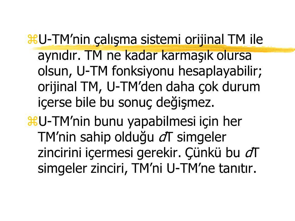 zU-TM'nin çalışma sistemi orijinal TM ile aynıdır. TM ne kadar karmaşık olursa olsun, U-TM fonksiyonu hesaplayabilir; orijinal TM, U-TM'den daha çok d