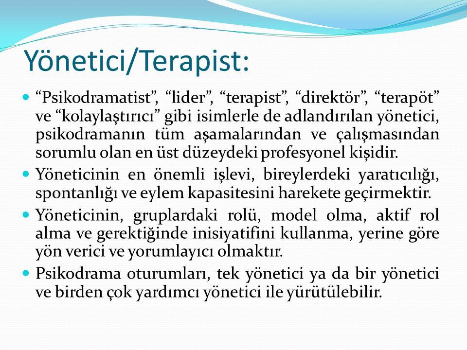 """Yönetici/Terapist: """"Psikodramatist"""", """"lider"""", """"terapist"""", """"direktör"""", """"terapöt"""" ve """"kolaylaştırıcı"""" gibi isimlerle de adlandırılan yönetici, psikodram"""