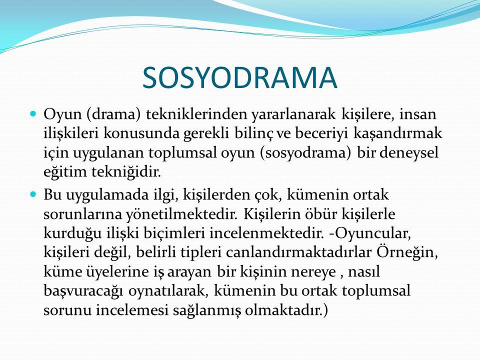 SOSYODRAMA Oyun (drama) tekniklerinden yararlanarak kişilere, insan ilişkileri konusunda gerekli bilinç ve beceriyi kaşandırmak için uygulanan toplums