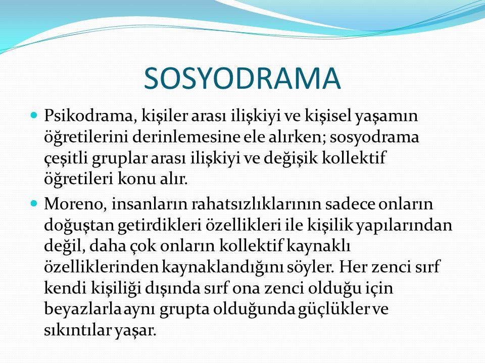 SOSYODRAMA Psikodrama, kişiler arası ilişkiyi ve kişisel yaşamın öğretilerini derinlemesine ele alırken; sosyodrama çeşitli gruplar arası ilişkiyi ve