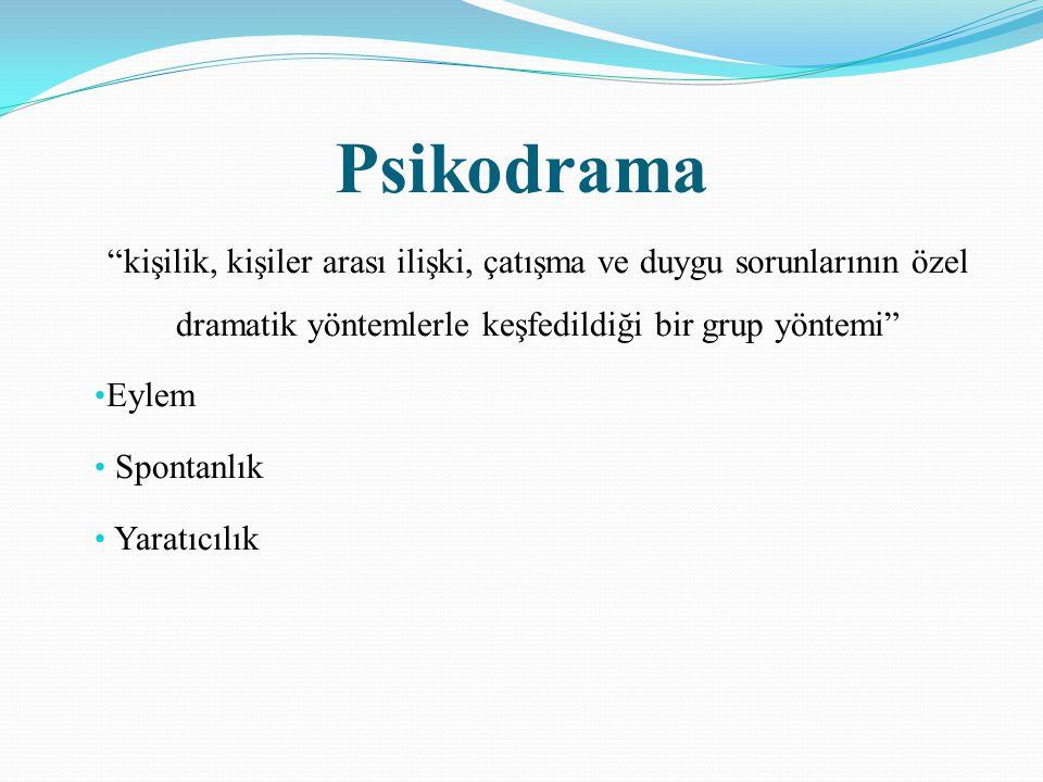 """Psikodrama """"kişilik, kişiler arası ilişki, çatışma ve duygu sorunlarının özel dramatik yöntemlerle keşfedildiği bir grup yöntemi"""" Eylem Spontanlık Yar"""