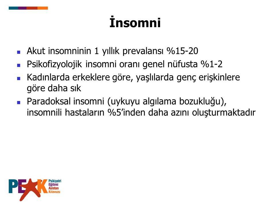 İnsomni Akut insomninin 1 yıllık prevalansı %15-20 Psikofizyolojik insomni oranı genel nüfusta %1-2 Kadınlarda erkeklere göre, yaşlılarda genç erişkin