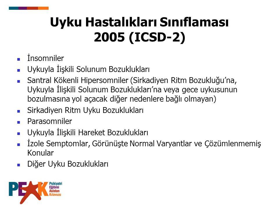 Uyku Hastalıkları Sınıflaması 2005 (ICSD-2) İnsomniler Uykuyla İişkili Solunum Bozuklukları Santral Kökenli Hipersomniler (Sirkadiyen Ritm Bozukluğu'n